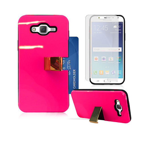 Deluxe ID Hybrid Case with Kickstand for Samsung Galaxy ON5 G550 Hot Pink-Black