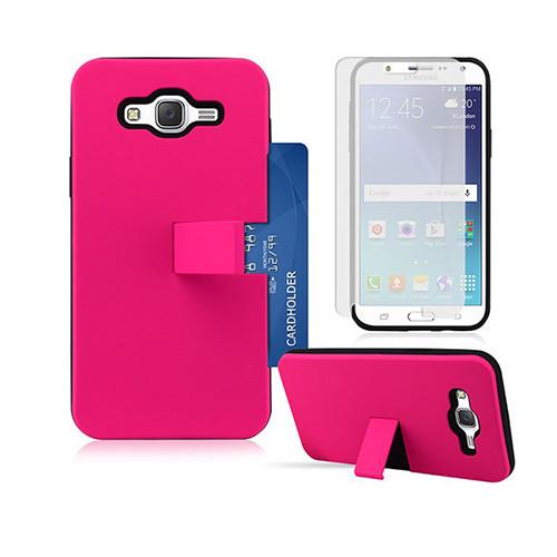 id slim hybrid case with kickstand for samsung galaxy s6 edge hot pink-black
