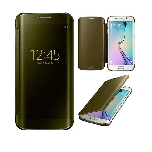 metallic s view cover case for samsung galaxy s6 edge gold