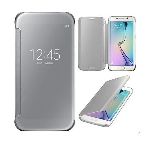 metallic s view cover case for samsung galaxy s6 edge silver