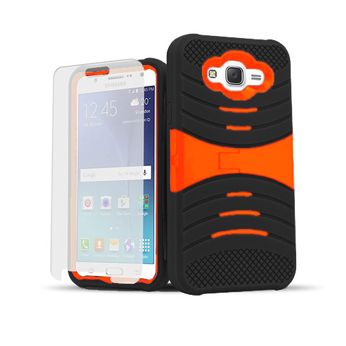 ultra rigid guard case with kickstand for samsung galaxy s6 edge plus black-orange