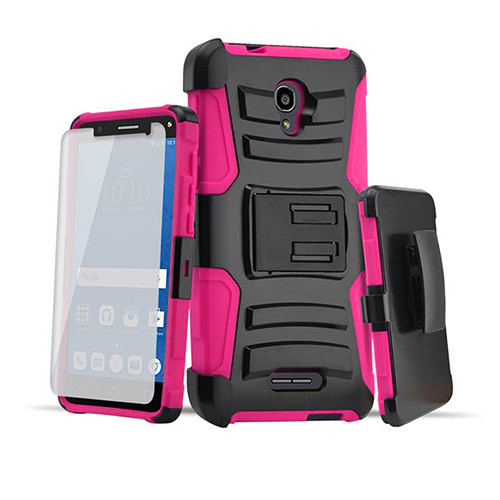 rugged hybrid case with kickstand and holster combo for samsung galaxy s7 hot pink-black