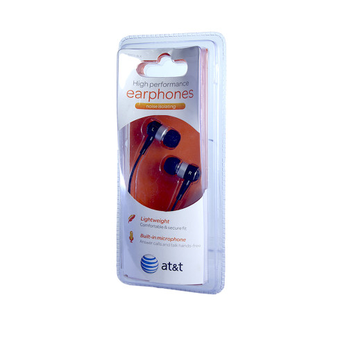AT&T high performance noise isolating earphones with mic black