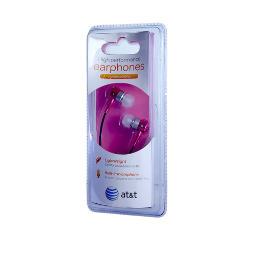 AT&T high performance noise isolating earphones with mic hot pink
