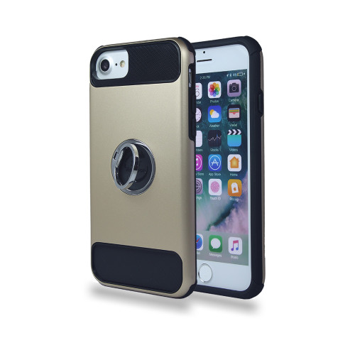 lisse hybrid ring case with kickstand for iphone 7/8 gold-black