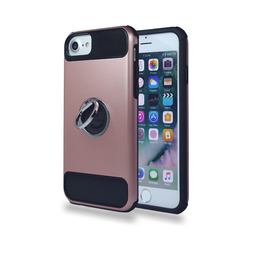 lisse hybrid ring case with kickstand for iphone 7/8 rose gold-black
