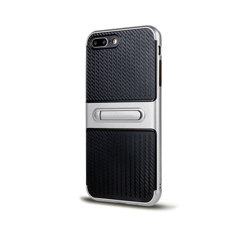 Traveler Hybrid Case with Kickstand for Samsung J3 prime 2017 Silver