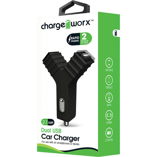 "ChargeWorx Plug in dual usb car charger ""Y"" shape 2.1A black"