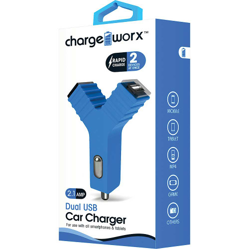 """ChargeWorx Plug in dual usb car charger """"Y"""" shape 2.1A blue"""