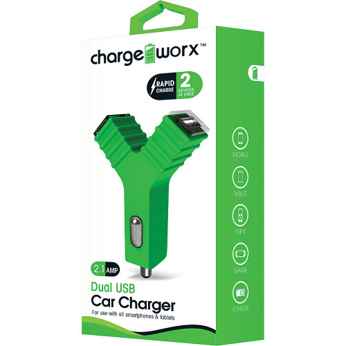 """ChargeWorx Plug in dual usb car charger """"Y"""" shape 2.1A green"""