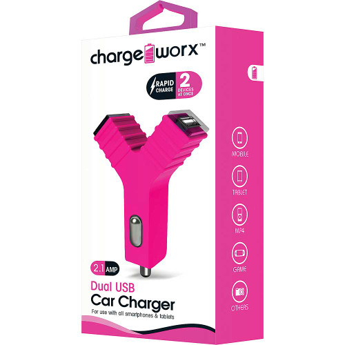 "ChargeWorx Plug in dual usb car charger ""Y"" shape 2.1A pink"