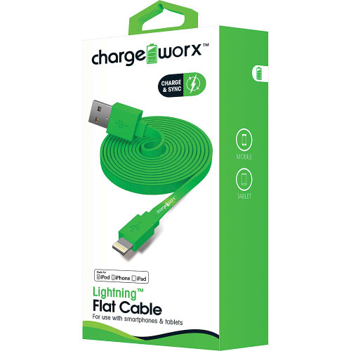 iPhone usb flat sync & charge cable lightning, 1.8M/6F green