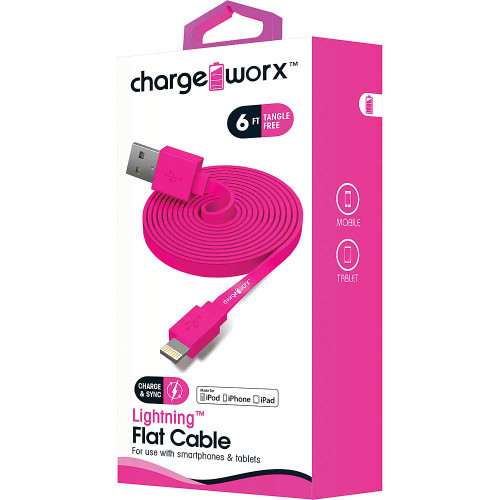 iPhone usb flat sync & charge cable lightning, 1.8M/6F pink