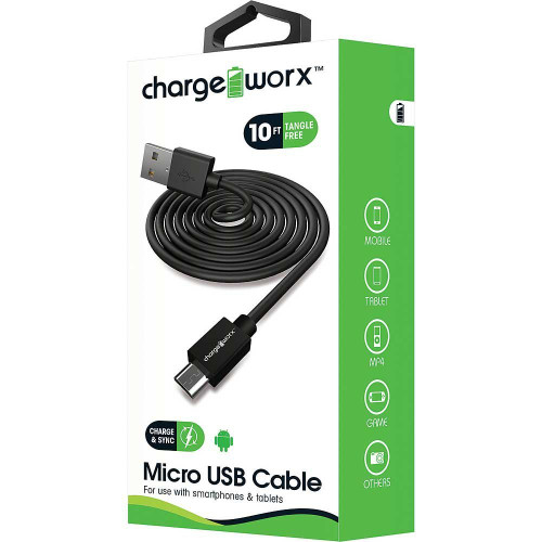 ChargeWorx Micro usb sync & charge cable 10FT/3M black