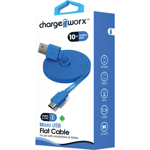 ChargeWorx Micro usb sync & charge cable 10FT/3M blue
