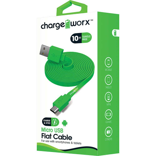 ChargeWorx Micro usb sync & charge cable 10FT/3M green
