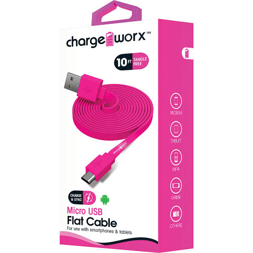 ChargeWorx Micro usb sync & charge cable 10FT/3M pink