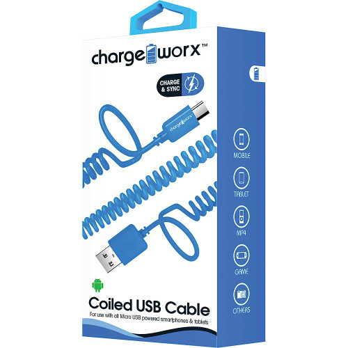 ChargeWorx iPhone usb coiled sync & charge cable lightning 1M/3FT blue