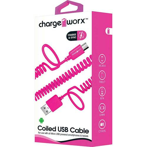 ChargeWorx iPhone usb coiled sync & charge cable lightning 1M/3FT pink