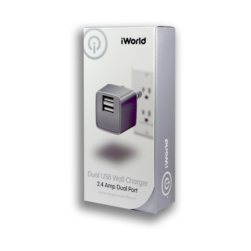 iWorld Dual USB Wall Charger 2.4 Amp Dual Port silver