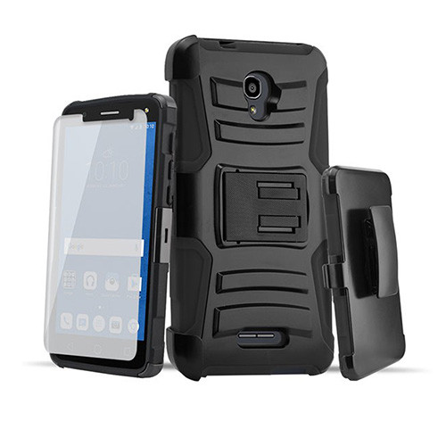 Rugged Hybrid Case with Kickstand and Holster Combo for LG K20 Black-Black