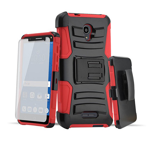 Rugged Hybrid Case with Kickstand and Holster Combo for LG K20 Red-Black