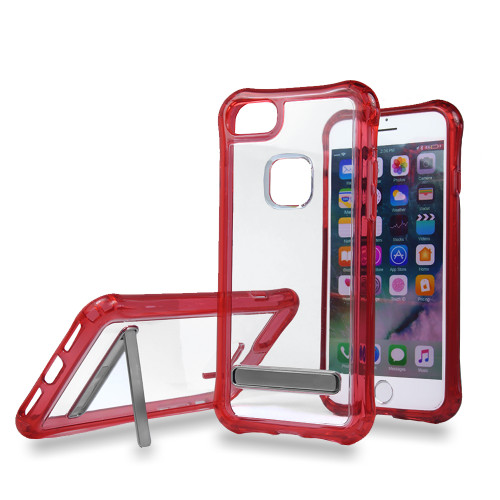 Mado Skin Case with Kickstand for Samsung S8 Plus Clear-Red