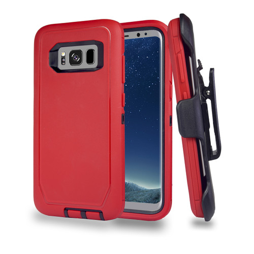 Sports Guard Case with Holster Combo for Samsung Galaxy S8 Red-Black