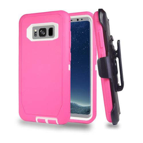 Sports Guard Case with Holster Combo for Samsung Galaxy S8 Hot Pink-White