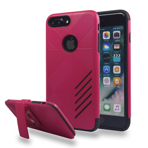 Avant Guard Case with Holster Combo for iPhone 7/8 - Hot Pink-Black