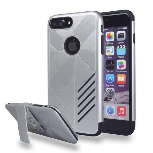 Avant Guard Case with Holster Combo for iPhone 7/8 Plus - Silver-Black