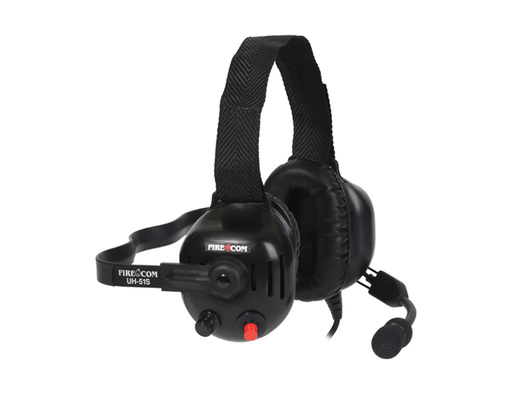 FireCom #UH-51S Under-helmet wired headset with one slotted dome. Full duplex intercome and PTT radio transmit