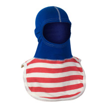 """Majestic """"Capt. America"""" PAC II Fire Fighter Hood - Royal Blue with Red and White Stripes"""