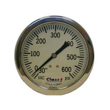 """Class 1 #91523933 2.5"""" Liquid Filled White Face Pump Panel Gauge - (-30-600)"""