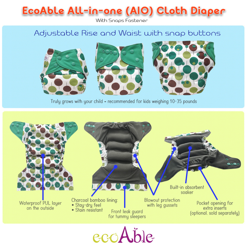 One Size All-in-one Cloth Diaper with Snaps