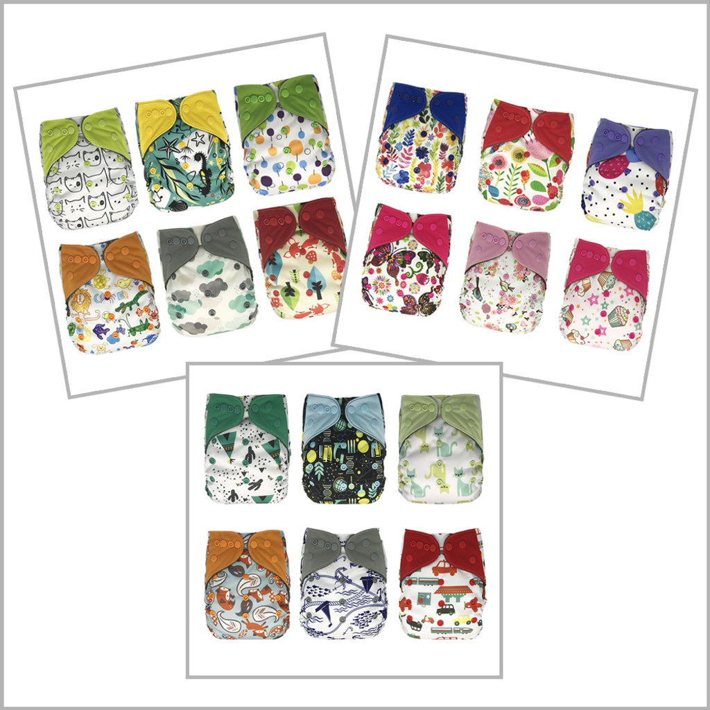 6-Pack All-in-one Cloth Diapers with Extra Inserts, Snaps