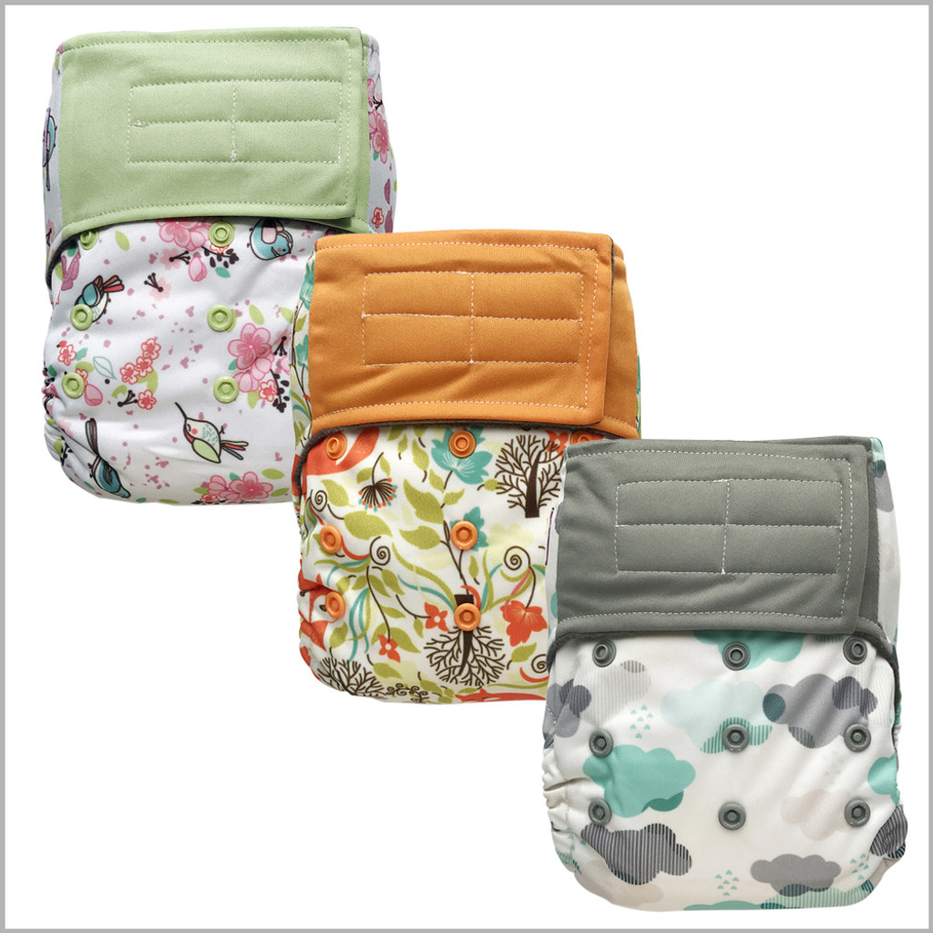 All-in-one Cloth Diaper with Extra Insert, Hook-&-Loop