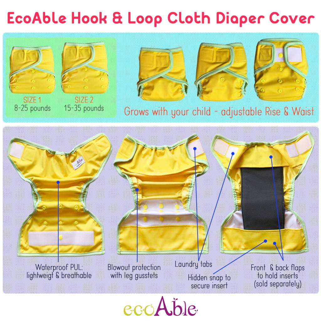Waterproof PUL Cloth Diaper Cover, Hook & Loop