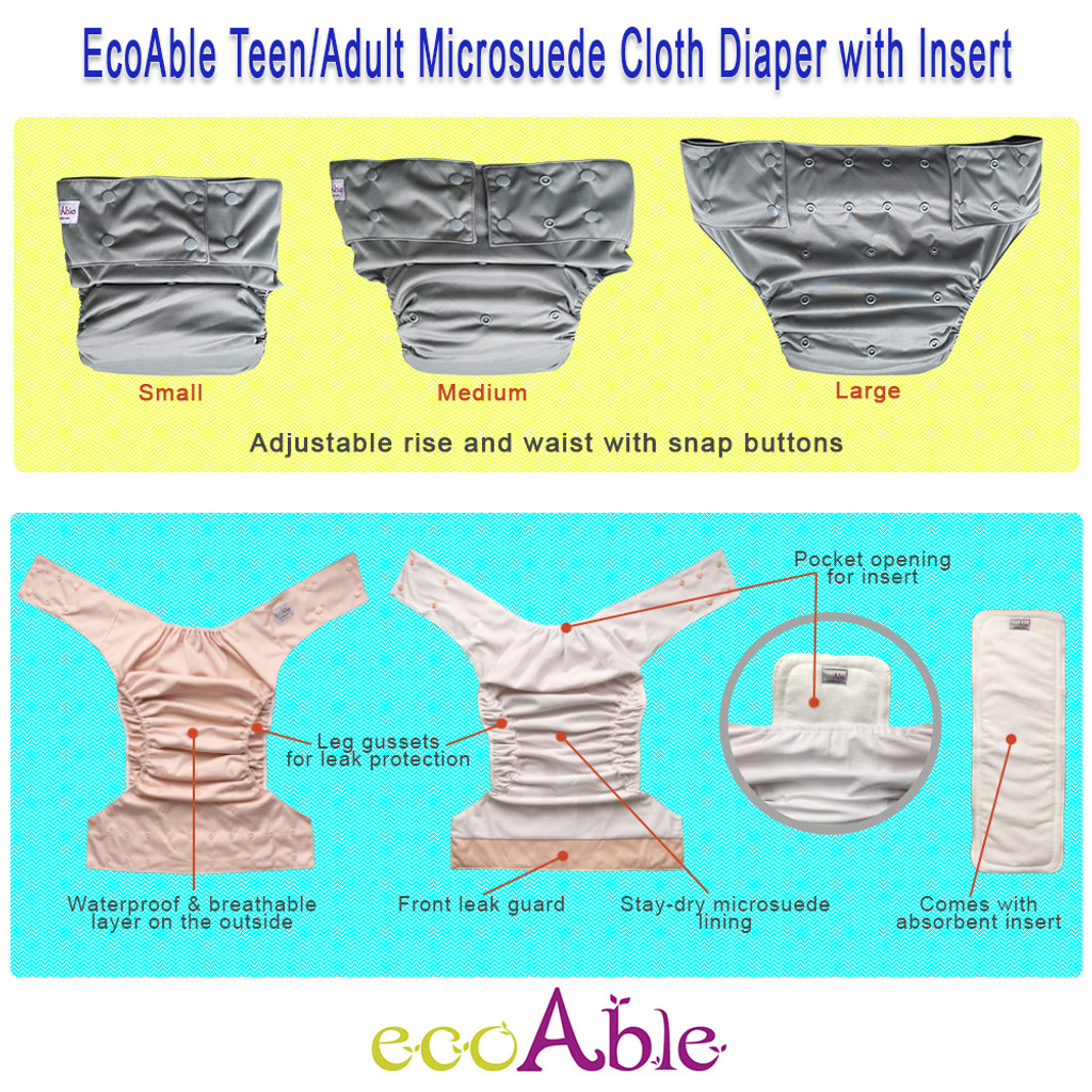 Teen & Adult Cloth Diaper with Microfiber Insert, One Size