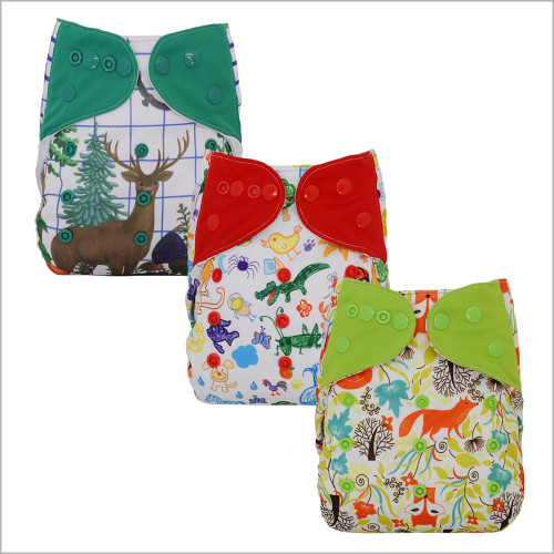 Diaper Cover  with Bamboo Prefold and Snap-in Insert for Overnight