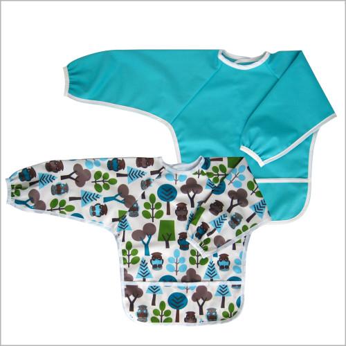 Toddler Waterproof Bib with Sleeves or Art Smock for Kids, Medium 2-4 Years