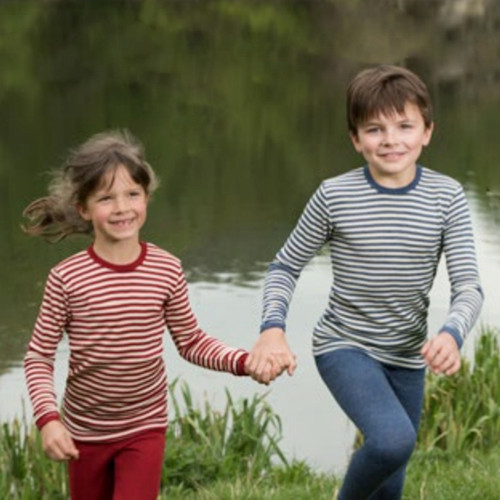 Kids Long Sleeve Thermal Shirt Base Layer or Pajama Top, 100% Organic Virgin Wool, 2-10 Years