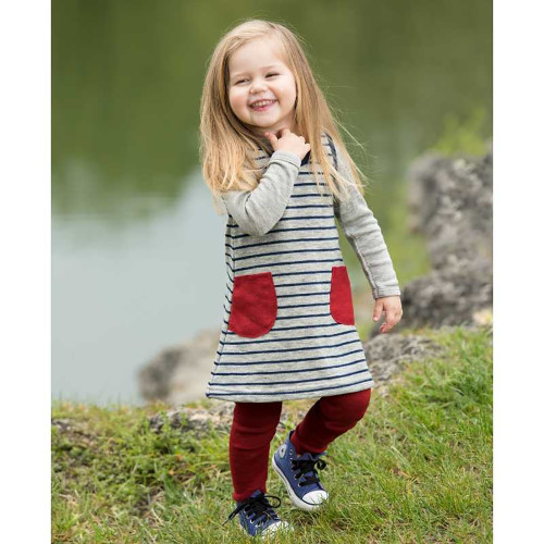 Little Girls Jumper Dress Tunic, 100% Organic Wool Terry, 3 Months - 6 Years