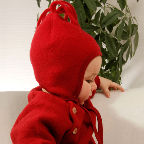 Baby Ultra Warm Hat with Chin Ties, 100% Organic Wool Fleece, 6-24 Months