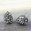 Swarovski Pave Teardrop Earrings in Gunmetal