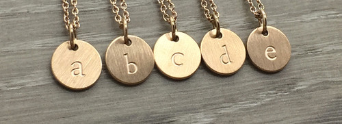 Lowercase Necklace from a to e in Rose Gold