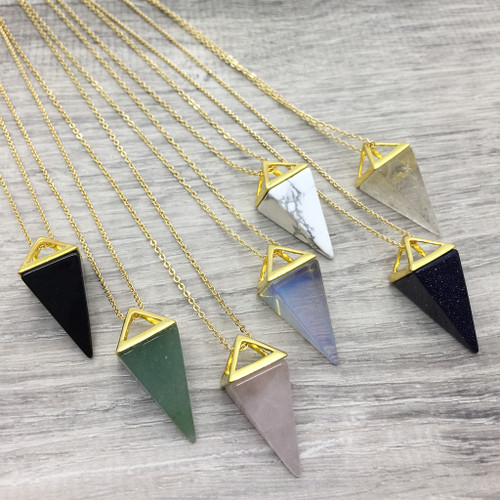 Faceted Semi-Precious Stone Necklace in Gold