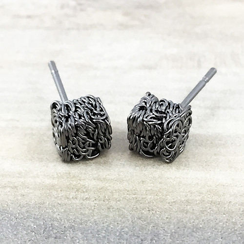 Textured Cube Earrings