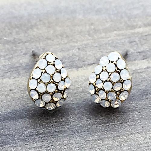 Swarovski Pave Teardrop Earrings in Gold