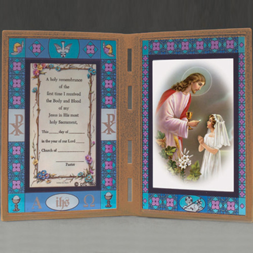 Girl\'s First Communion Stained Glass Frame w/ Color Prayer - Holy ...